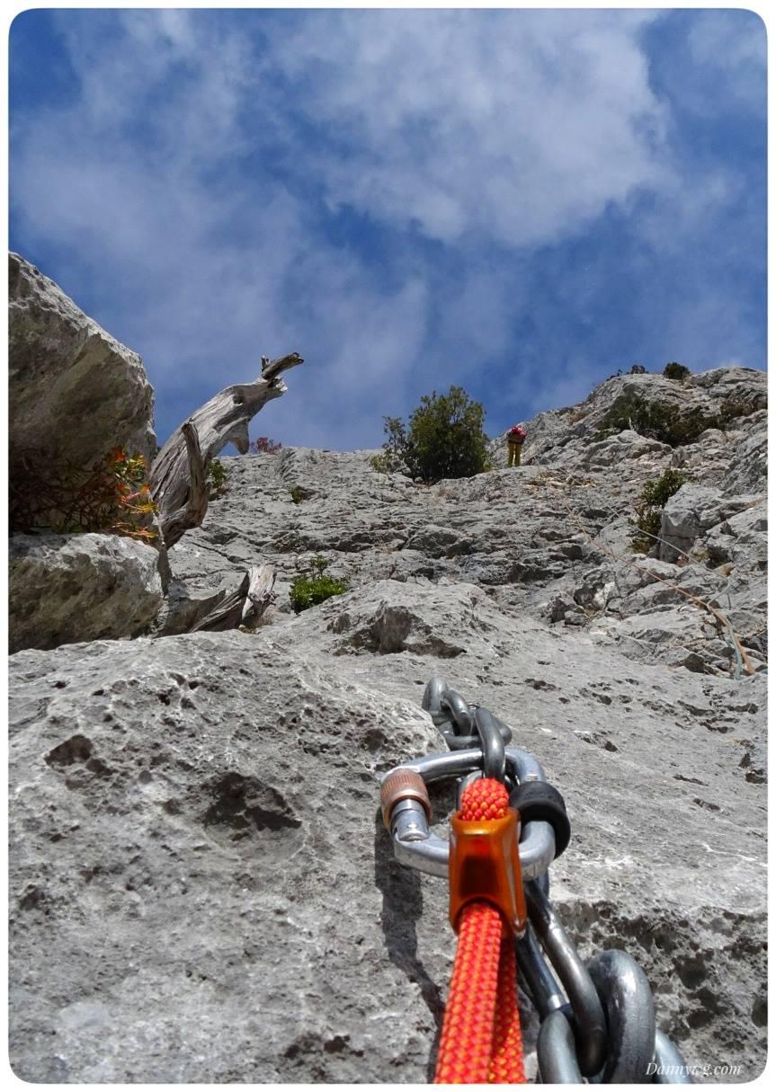 Multi pitch sport climbing